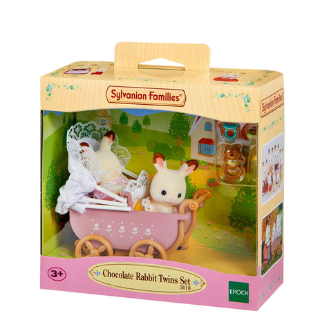 SYLVANIAN 5018 Chocolate Rabbit Twins with PRAM set