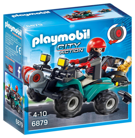 PLAYMOBIL 6879 POLICE Robbers Quad with Loot
