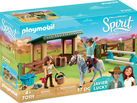 PLAYMOBIL 70119 SPIRIT RIDING FREE Lucky & Javier with Horse Shed