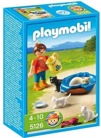 PLAYMOBIL 5126 FARM Country Girl with Cat Family