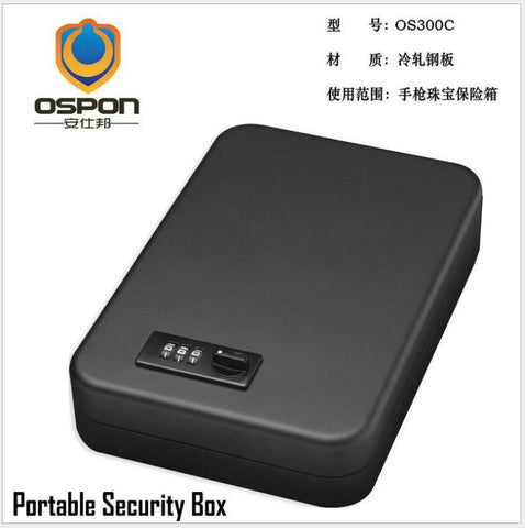 Portable Gun Safe Box w/ Security Cable Handgun Safe