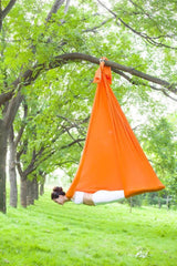 5.5 Yards(5m/set) Elastic Pilates Yoga Swing Aerial Yoga Hammock w/ Carabiner & Extension Kit