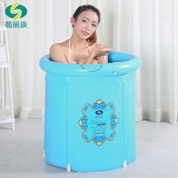 Teen Size Folding Bathtub Inflatable Portable Plastic Spa
