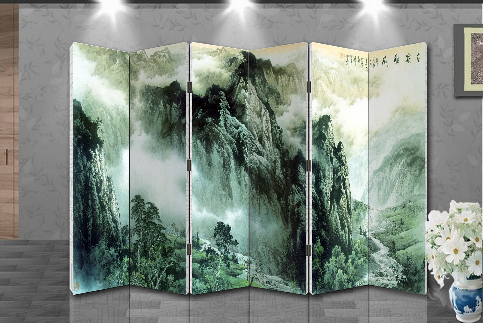 Oriental Style 6 Panel Foldable Shoji Screen Room Divider Chinese Painting Mountain Valley