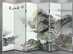 Oriental Style 6-panel Foldable Shoji Screen Room Divider Chinese Painting Mountain in Cloud