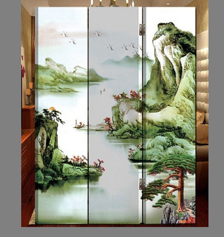 Oriental Style 3-panel Foldable Shoji Screen Room Divider Chinese Painting Mountain By River