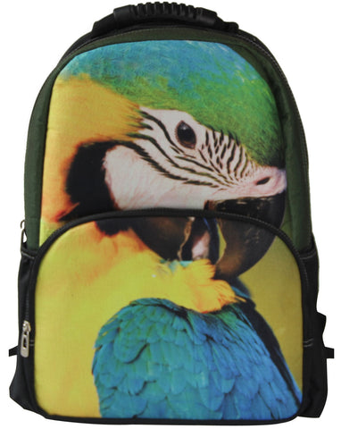 Animal Face 3D Parrot Bird Paint Backpack