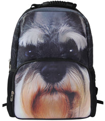 Animal Face™ Miniature Schnauzer Puppy Backpack 3D Deep Stereography Felt Fabric