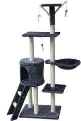 "PETWAY Cat Tree 54"" Condo Furniture Scratching Post Pet Cat Kitten House High Quality Pewter"