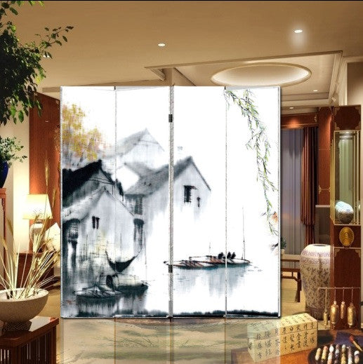 Oriental Style 4-panel Foldable Shoji Screen Room Divider, Southern Canal Town