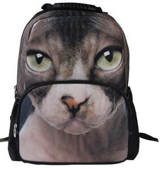 Animal Face 3D Sphynx Cat Backpack