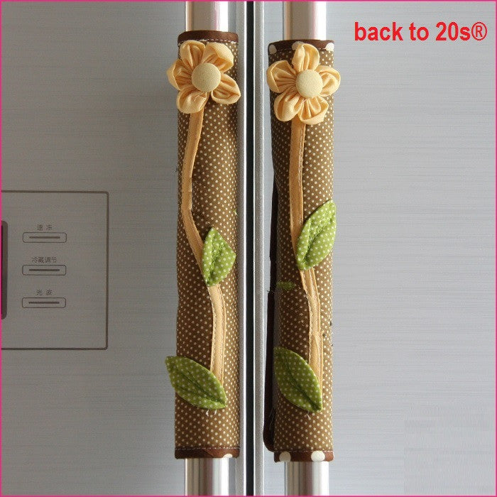 Twin Pack Refrigerator Handle Covers (brown flower)
