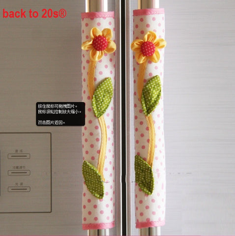 Twin Pack Refrigerator Handle Covers (pink dot)
