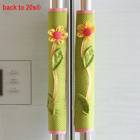 Twin Pack Refrigerator Handle Covers (flower green)