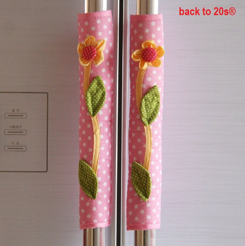Twin Pack Refrigerator Handle Covers (flower pink)