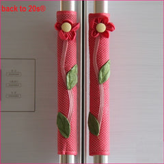 Twin Pack Refrigerator Handle Covers (flower red)