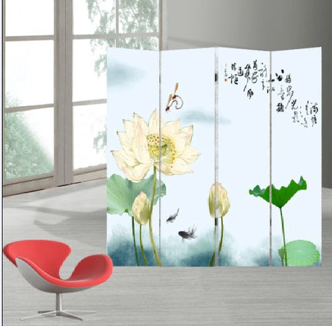 Oriental Style 4-panel Foldable Shoji Screen Room Divider, Chinese Traditional Painting Lily Pond