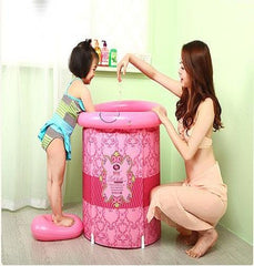 Teen Size Folding Bathtub, Inflatable Portable Plastic Spa Massage Bathtub Bath Bucket, Bath Tub
