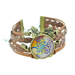 LIEBE ENGEL 2017 newest  Bracelet Bangles life tree Galaxy Cabochon vintage bronze butterfly Leather Bracelet For Women Men