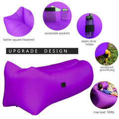 Easy-to-Inflate Inflatable Lounger Chair Couch for Adults, Sturdy Inflatable Air Lounger Sofa with Carry Bag for Beach/Camping/Outdoor/Indoor Sleeping (Heavy Duty)