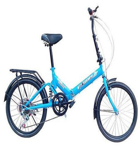 "20"" Fast Folding Compact Portable Fold-up Bike Bicycle 6-speed Blue"