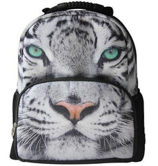 Animal Face 3D Paint Tiger Backpack (White)