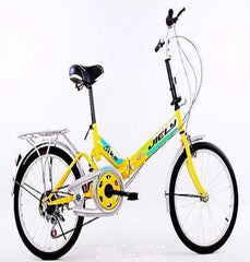 "20"" Folding Bicycle 6 Speed Light Weight Foldable Bike (Yellow)"
