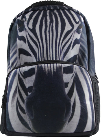 Animal Face 3D Zebra Paint Backpack,