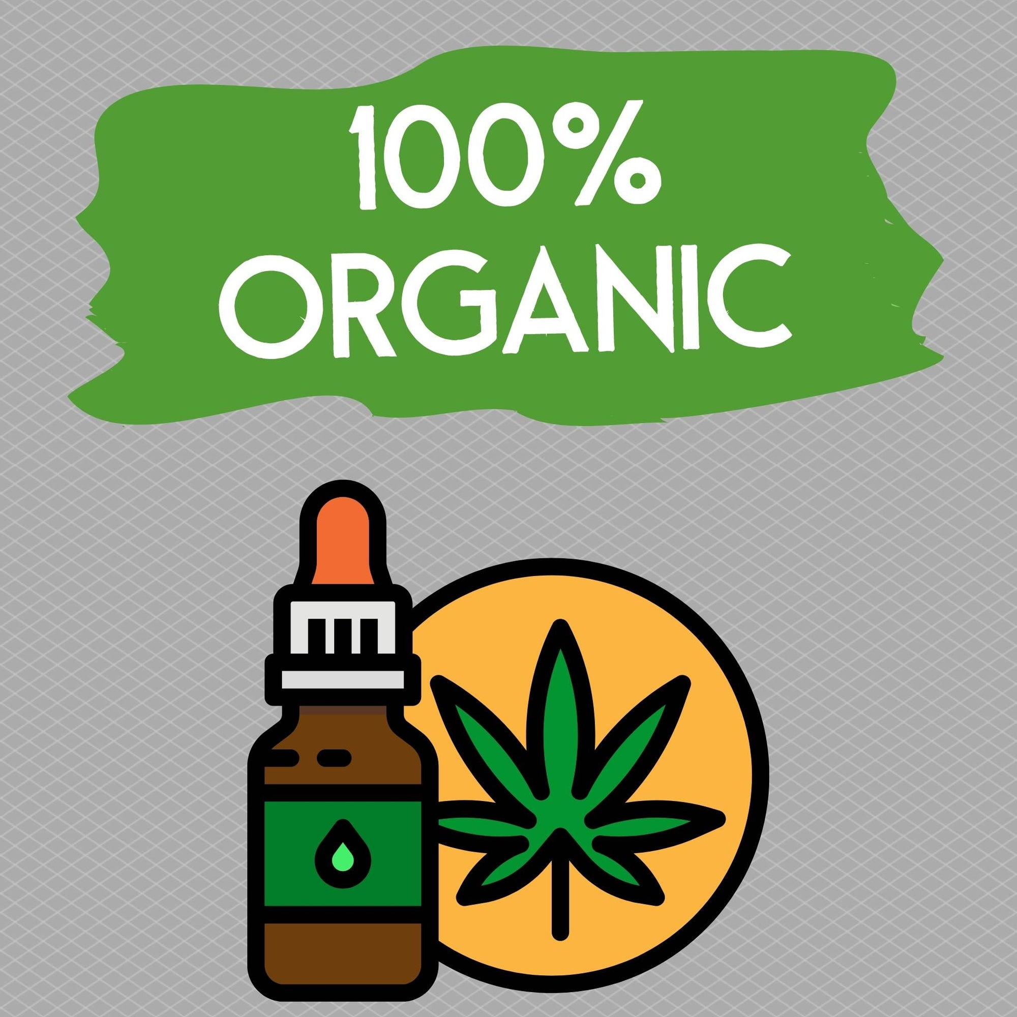 cbd tincture with a sign saying cbd organic