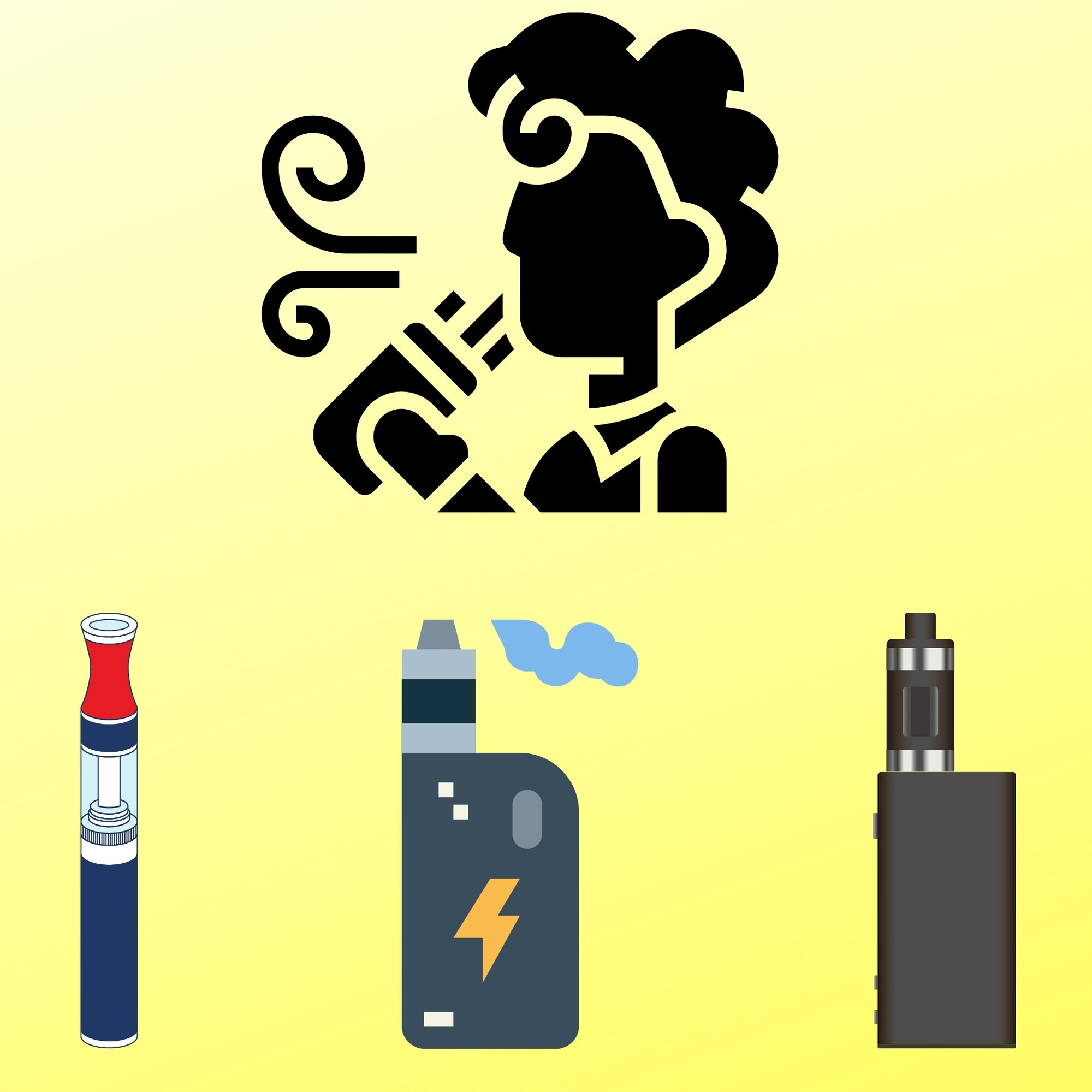 woman vaping with multiple vapes in front of her with yellow background