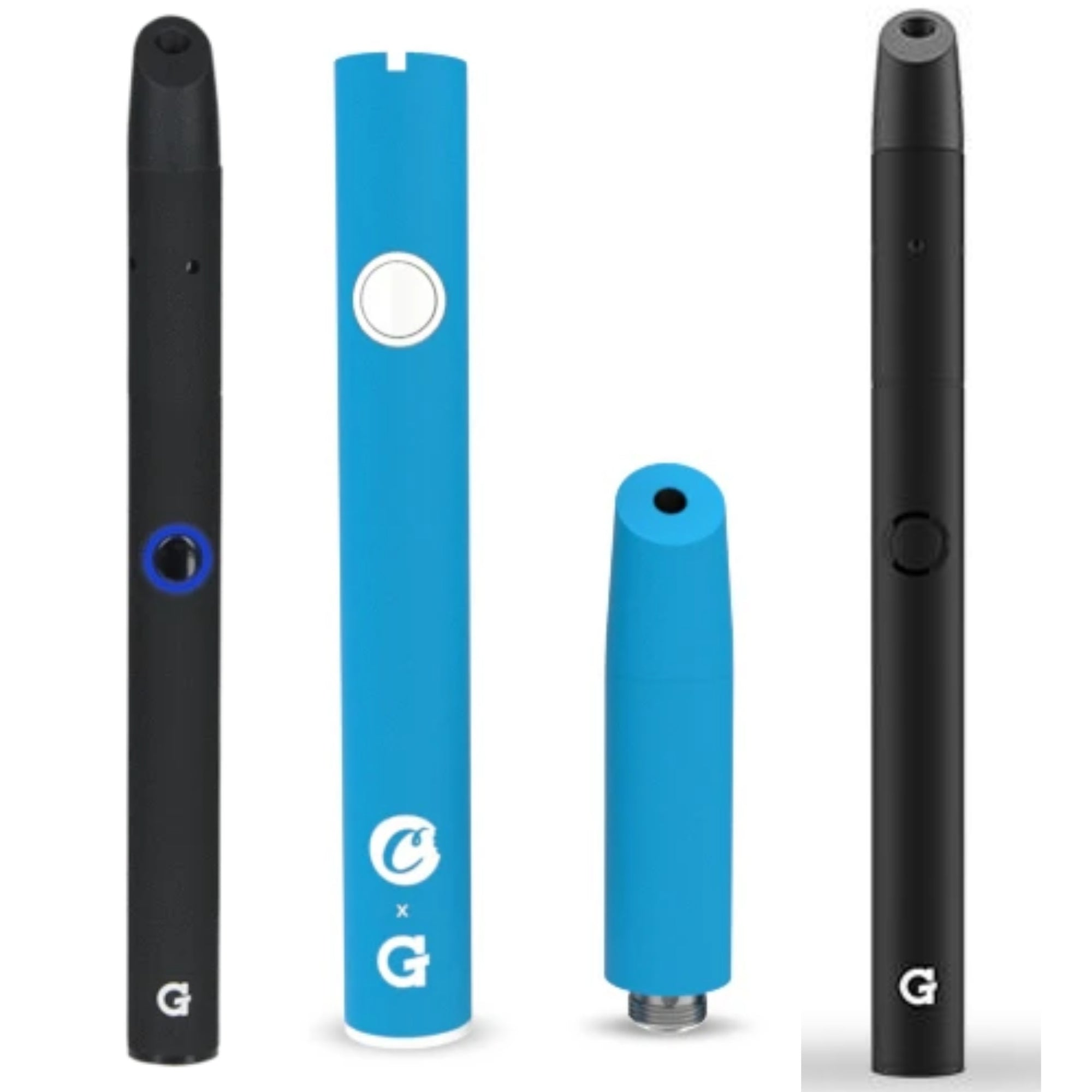 one black and one blue G pen nova