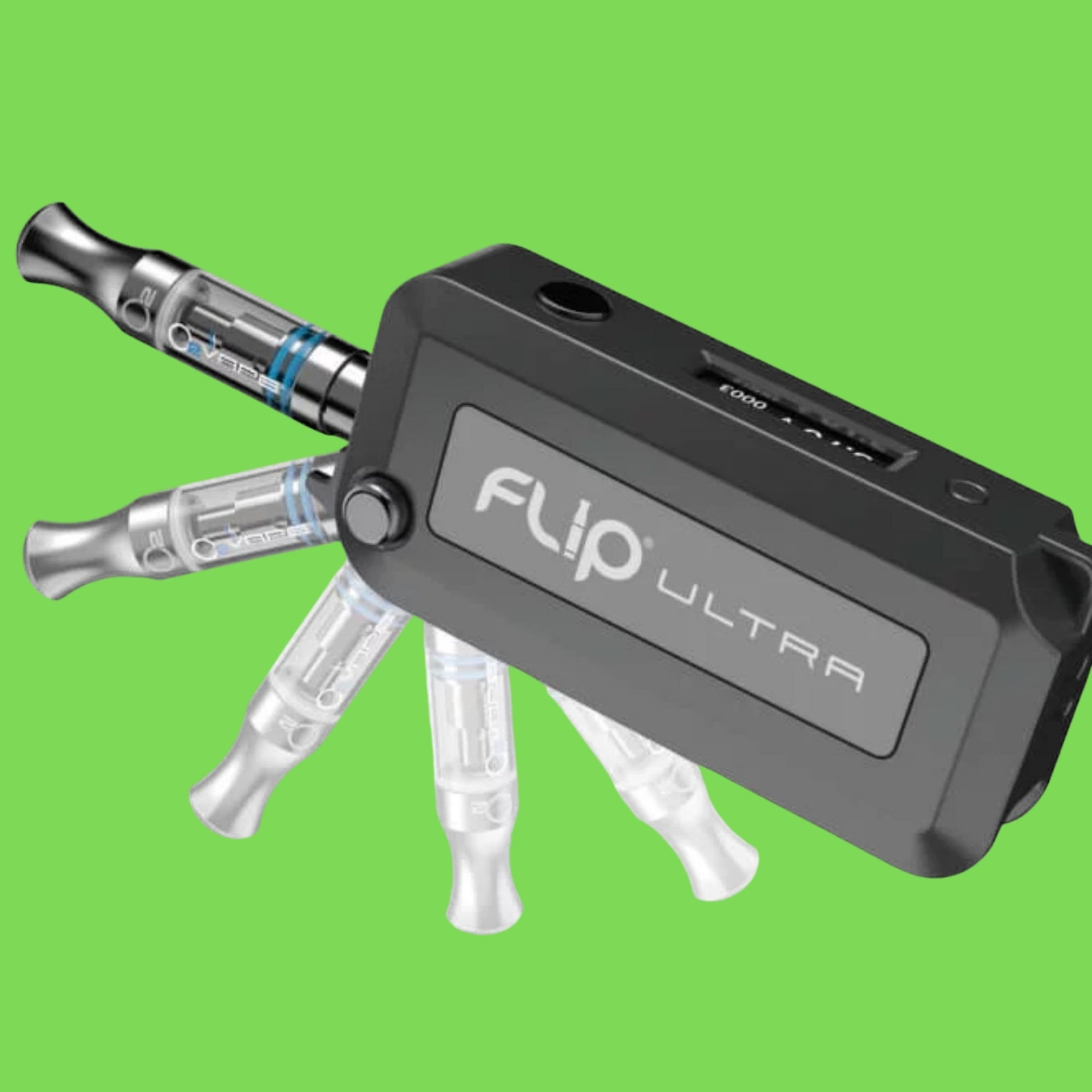 O2 Flip Key Ultra Vape with Green Background