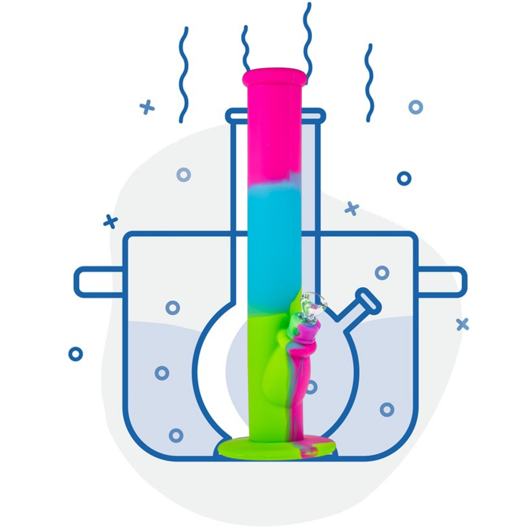 Illustration of Colorful bong boiling in water