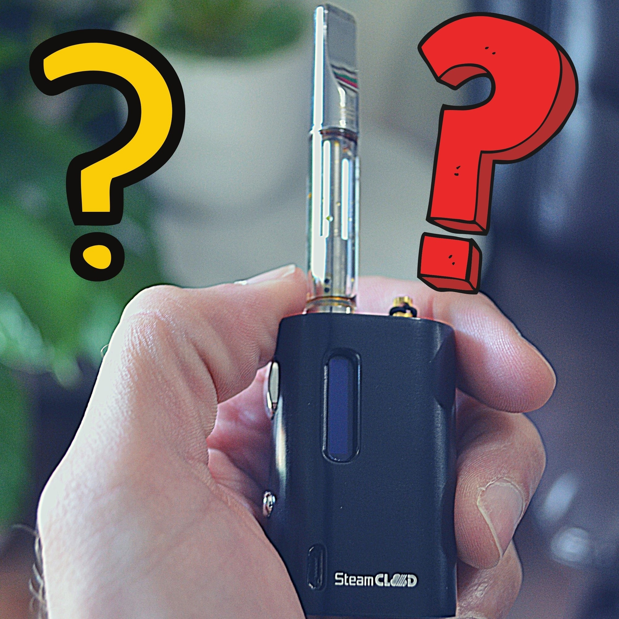 Hand Holding SteamCloud Vape with Question Mark Graphics