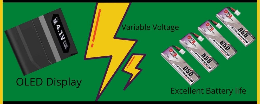 Images of OLED Display and Variable Voltage and 650 mAh Batteries