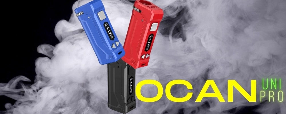 Yocan spelled out with yocan uno pro vapes and graphic letters