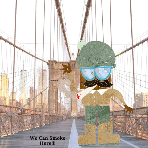 Brooklyn Bridge walk with a joint in the mouth