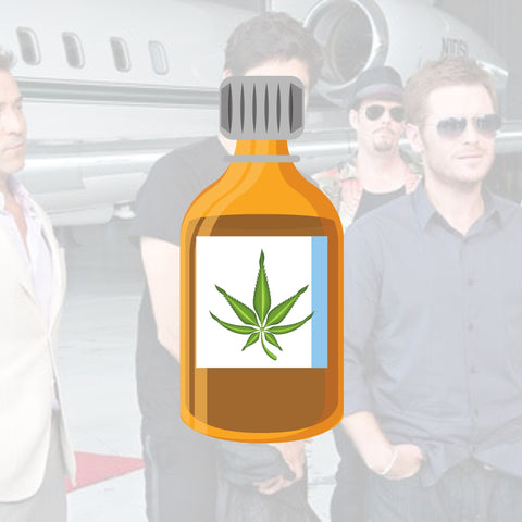 CBD bottle with the background of the entourage cast