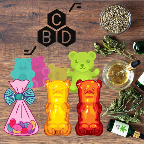 CBD gummy in a multiple of colors with thc inside of them
