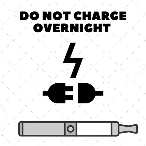 battery bolt along with vaporizer with text saying do not charge overnight