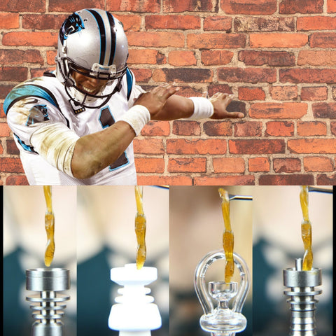 Four wax dabs being smoked with football player dancing