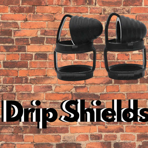 """two Drip Shields in black with text saying """"drip shields"""""""