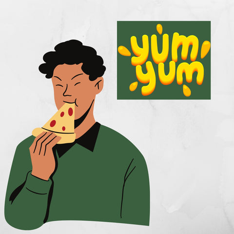 Man eating a slice of pizza with a sign saying yum yum