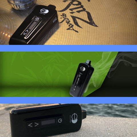 E-clipse vaporizer in black being held in three different pictures