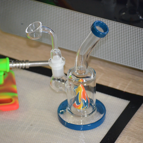Glass Dab rigs being prepped for smoking