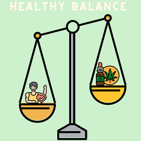 Balancing scale weighing out a healthy life and CBD tinctures
