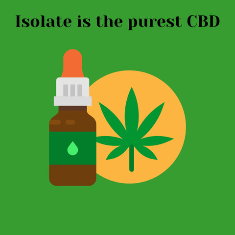 CBD Tincture with text saying - Isolate is the purest CBD