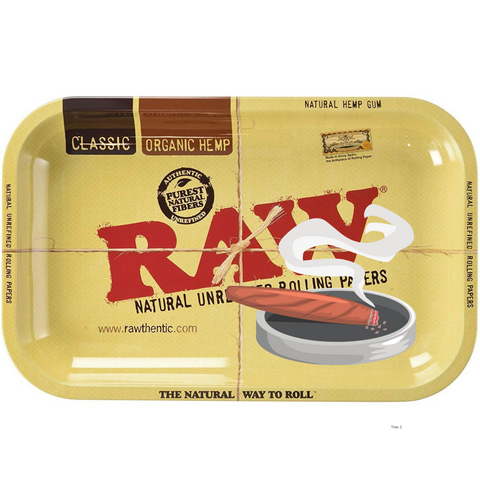 raw rolling tray with an ashtray on it