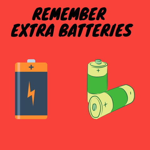 Two batteries with text saying remember extra batteries and red background