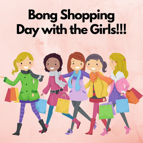 animation of girls with shopping bags leaving the bong store